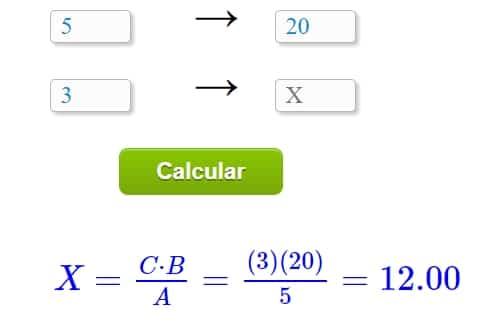 Calculadora regra de três
