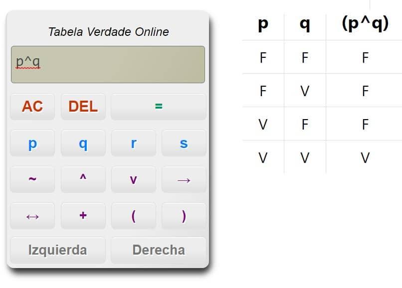 Calculadora tabela verdade online
